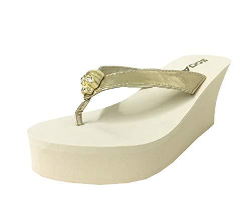 SODA Skull Diamond Skull Platform Wedge Flip Flop Sandal, Light Gold Leatherette, 8.5 -