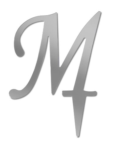 Darice VL3M Mirror Acrylic Initial Letter Cake Topper with Stake, Alphabet M, 3-Inch