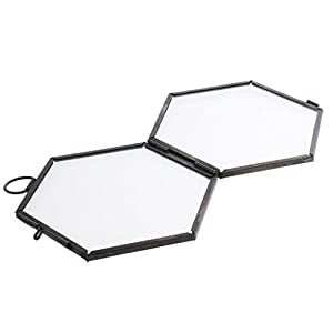 Jili Online Antique Hexagon Metal & Glass Hanging Floating Picture Photo Frame Black/Copper - black
