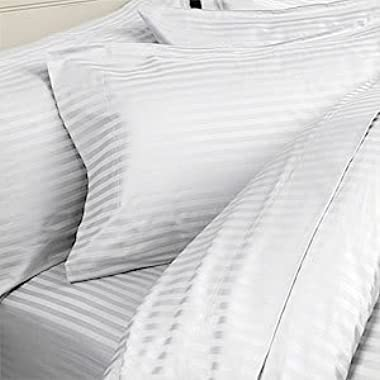 SATEEN FINISH 6 pc 800 Thread Count Egyptian Cotton Sheet Set with 4 PILLOW CASES, Olympic Queen, White Stripe