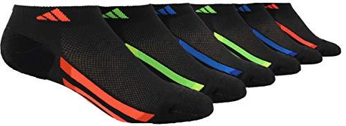 adidas Youth Kids-Boy's/Girl's Cushioned Low Cut Socks (6-Pair), Black/Solar Red/Bold Orange/Solar Green/Solar Yell, Medium, (Shoe Size 13C-4Y)