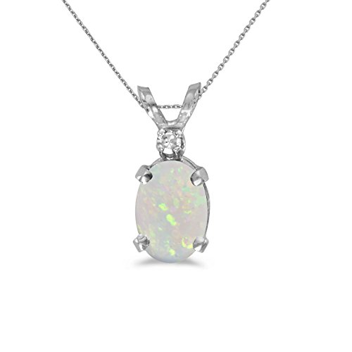 "14k White Gold Oval Opal And Diamond Pendant with 18"" Chain"