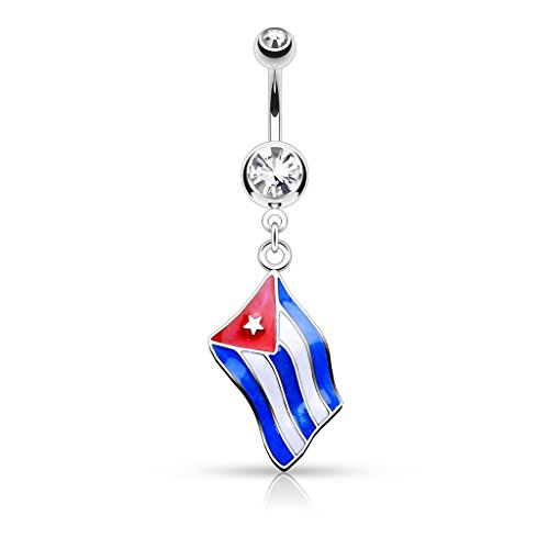 Pierced Owl National Country Flag Epoxy Dangle with Gem Dangle Belly Button Ring 14GA Navel Ring (Choose Country) (Cuba)