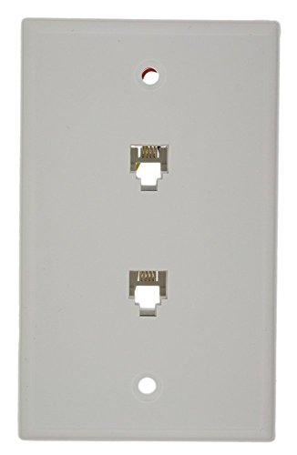 Leviton 40944-W Standard Telephone Wall Jack, 6P4C X 6P4C, Screw Terminals, White