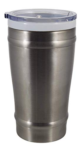 16 Ounce Ceramic Pilsner - CeramiSteel 16 ounce Beer Pint Glass with Lid   Ceramic Coated Stainless Steel   Vacuum Insulated and BPA Free   Stainless Finish