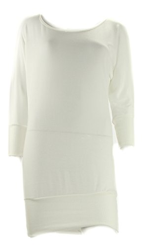 Dolman Sleeve Tunic Sweater (Tempted Womens Ivory Banded Hem 3/4 Dolman Sleeve Tunic Sweater S)