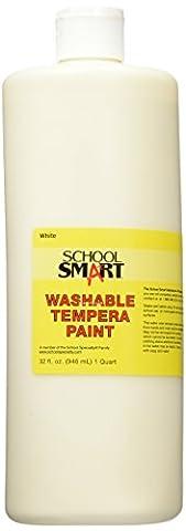 School Smart Washable Tempera Paint - Quart - White (White Paint Tempera)