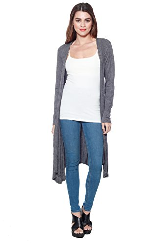 A+D Womens Long Ribbed Knit Cardigan Sweater Top W/ Waist Tie (Charcoal, Small)