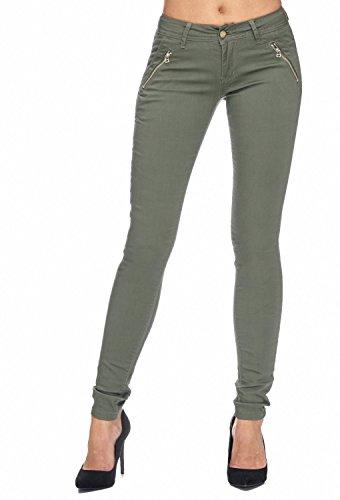 Arizonashopping - Hosen Pantaloni In Tessuto Da Donna Tube Treggings Skinny Fit D1943 Verde