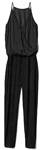 - GAP Womens Black Cami Wrap Knit Jumpsuit XL