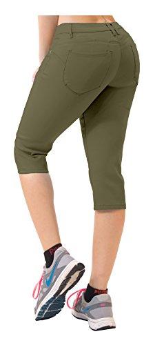 Women's Butt Lift Super Comfy Stretch Denim Capri Jeans Q43308 Army Green 11