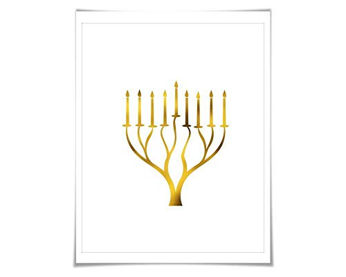 Menorah Gold Foil Art Print. 7 Foil Colours/3 Sizes. Jewish Wall Art, Judaica Israel Decor, Hannukah Chanukah]()
