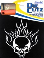 Chroma Graphics Flaming Skull Die Cutz - White Decal