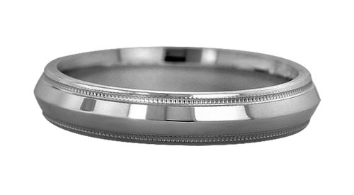 Wedding Bands; Platinum Knife Edge Milgrain Wedding Bands Men`s and Women`s 4mm Wide Comfort Fit