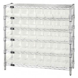 Quantum Storage Systems WR6-36-1236-101CL 6-Tier Complete Wire Shelving System with 40 QSB101CL Clear-View Economy Shelf Bins, Chrome Finish, 12