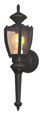 Designers Edge L-2553BK 16-Inch Dual Eye Motion-Activated Outdoor One-Light Upward Wall Sconce, Black Metal with Beveled Glass