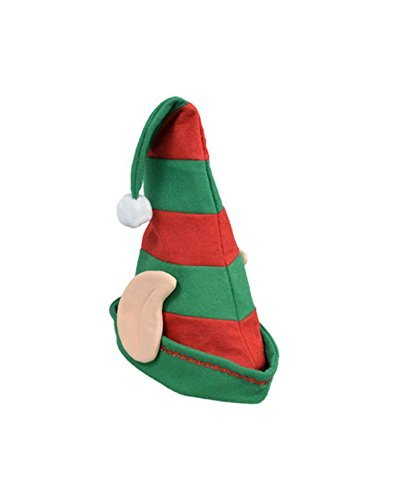 Festive Striped Felt Elf Hat with Ears and Pom-pom (1) -