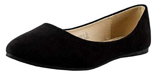 Bella Marie Angie-53 Women's Classic Pointy Toe Ballet Slip On Suede Flats (7.5 B(M) US, Black)