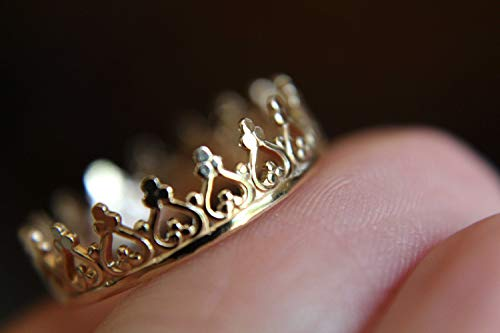14k Solid Gold Crown Ring. Wedding Band. Engagement Ring, Princess Ring, Promise Ring, Gold Band, Simple Gift, 14k Yellow Gold Ring, Gold