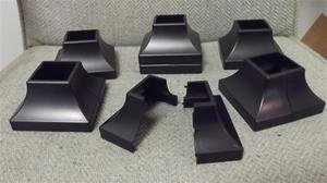 2 ABS PLASTIC SQUARE POST COVERS/SKIRTS FOR WROUGHT IRON HAND/STAIR RAILS - 1-1/4""