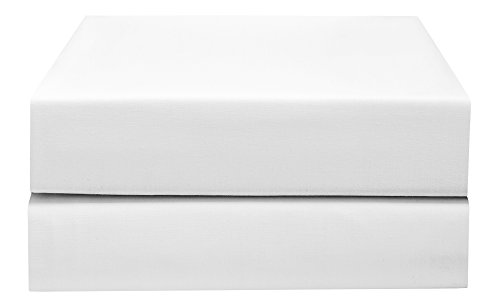 PHF Hotel Collection Flat Sheet 200T Cotton Polyester Percale 2 Pieces Queen Size White 2 Pack Flat Sheets