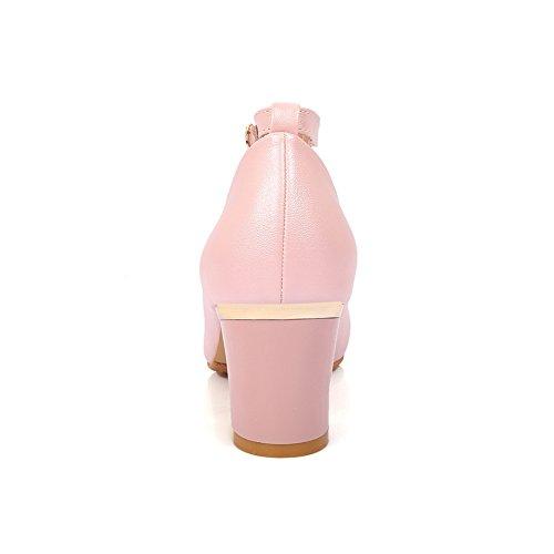 Balamasa Ladies Buckle Chunky Heels Hebillas De Metal Urethane Pumps-Zapatos Pink