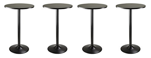 Winsome Obsidian Pub Table Round Black Mdf Top with Black Leg And Base - 23.7-Inch Top, 39.76-Inch Height (Pack of 4) by Winsome