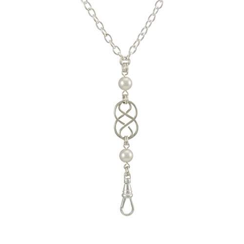 Brenda Elaine Jewelry | Women's Fashion Lanyard Necklace for ID Badge Holders | 32 Inch Silver Chain with Silver Celtic Knot and White Swarovski Pearl Pendant & Rear Magnetic Break - Attractive Celtic Knot