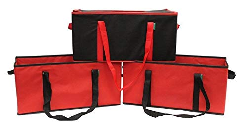 Earthwise Collapsible Reusable Grocery Bag Box Set - 3 Piece Set - 2 Extra Large Box Bags plus 1 Extra Large Leak Proof Insulated Grocery Box Bag.Supermarket,Costco, Sams Club Storage Boxes Bins