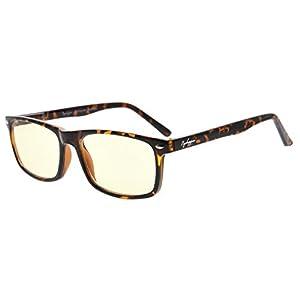 Eyekepper Readers UV Protection, Anti Glare Eyeglasses,Anti Blue Rays, Spring Hinges Computer Reading Glasses (Tortoiseshell, Yellow Tinted Lenses) +3.5