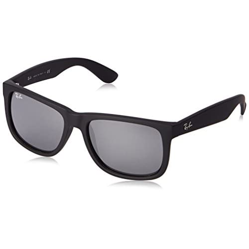 e973045762 Ray-Ban JUSTIN - RUBBER BLACK Frame GREY MIRROR SILVER Lenses 55mm  Non-Polarized