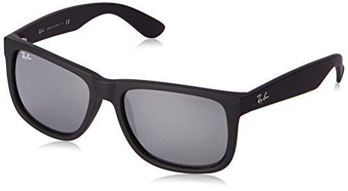 Ray-Ban Justin Colour Mix RB4165 622/6G Sunglasses Rubber Black Frame/ Grey Mirror Silver Lens - 55 Rb4165