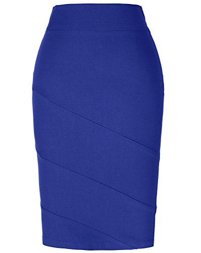 Kate Kasin Stretchy Pencil Dress For Women Knee Length Blue Size S KK269-4 - Lined Pencil Skirt