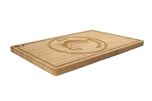 BambooMN Custom Laser Engraved Bamboo Cutting Board - Fish w/Name in Circle - 1 Piece - 17.25