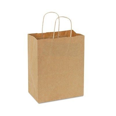 10.25'' x 8'' x 4.5'' Handled Shopping Bags in Natural