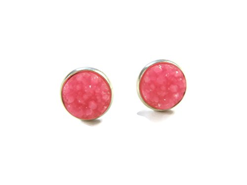 Sparkly Hot Pink Druzy Earrings – Silver Studs Earrings for Women – Pink Crystal Earrings – Chunky Gemstone Earrings
