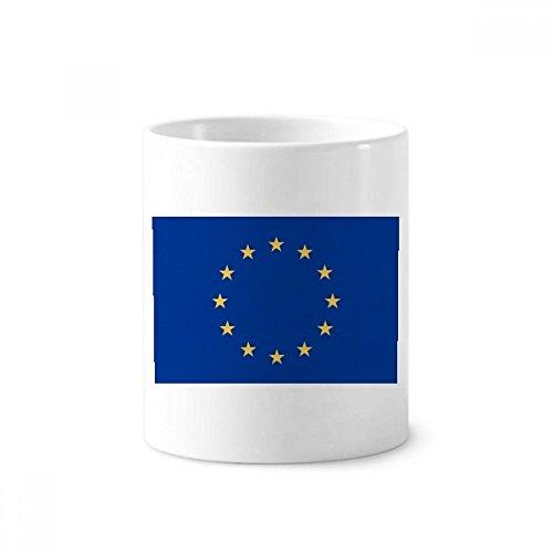 Soporte para bolígrafo de cerámica con diseño de bandera nacional de la Unión Europea con taza blanca de 350 ml para...