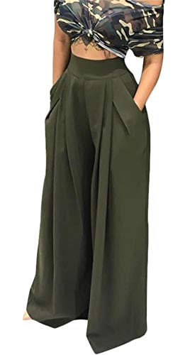 (HuiSiFang Women's Casual Pleated Long Pants Solid High Waisted Wide Leg Palazzo Long Pants with Pockets Plus Size Green XL)