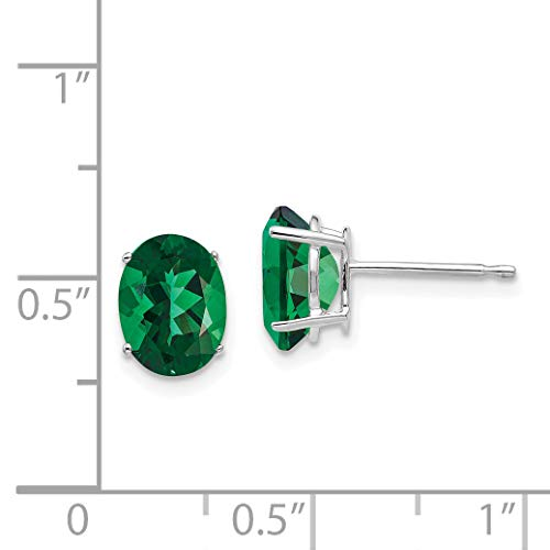 - 14k White Gold 8x6mm Oval Mount St. Helens Created Emerald Earrings. Gem Wt- 3ct