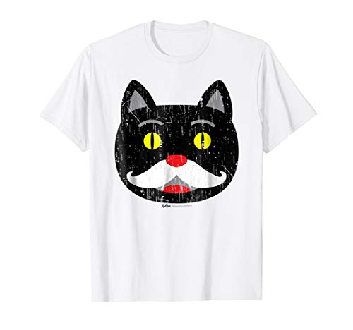 Vintage Black Cat with Mustache Halloween Costume T Shirt -