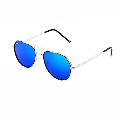 hombre aviador mujer TWIG Gafas Plata de Azul espejo TOLSTOJ sol PBpYFqI