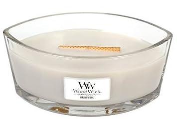 Woodwick Duftkerze im Glas Weiß Teakholz
