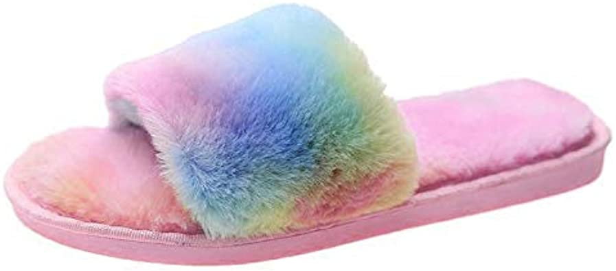 Women Slippers Sparkly Fluffy Fur Lined Winter Warm Soft Mules Shoes Home Casual