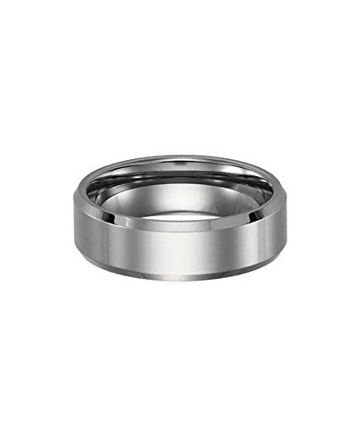 Polished Tungsten Carbide Beveled Edge Wedding Ring Band Size 10 by iJewelry2