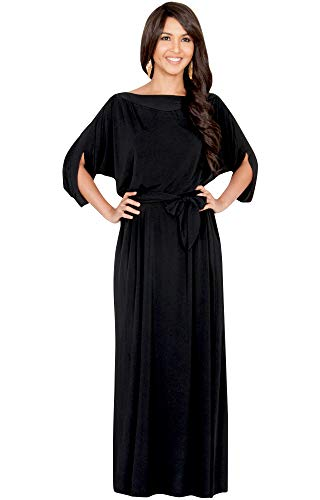 Flowy Casual Short Half Sleeve with Sleeves Fall Winter Floor Length Evening Modest A-line Formal Maternity Gown Gowns Maxi Dress Dresses, Black L 12-14 ()