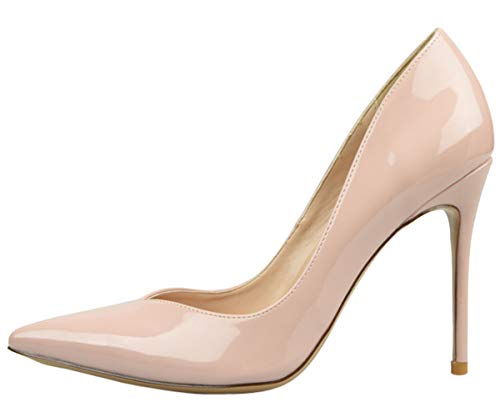 Nude Shoes Stiletto Heels Evening Patent Pumps Toe Pointed High Shoes Wedding Basic Womens Slip Shoes 1 Party Court On Leather fzxqOPU