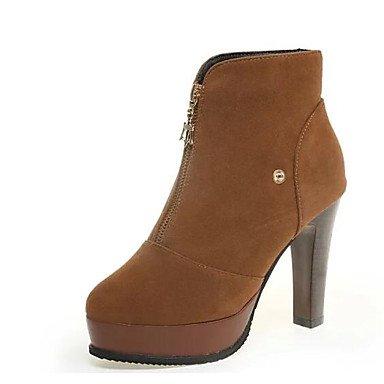 Leather de de pierna moda aguja Punta para Botas 5 Otoño 5 mujer RTRY UK5 Round Zapatos Invierno a de Toe US7 Tacón Nubuck Negro media redonda Botas Botas Amarillo Casual CN38 EU38 x7wqnI1O5z