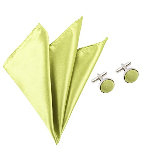 2pc Colour Green Square Satin Cufflinks Suit Apple Set Solid Accessory Handkerchief Pocket Matching amp; 5qSPTq