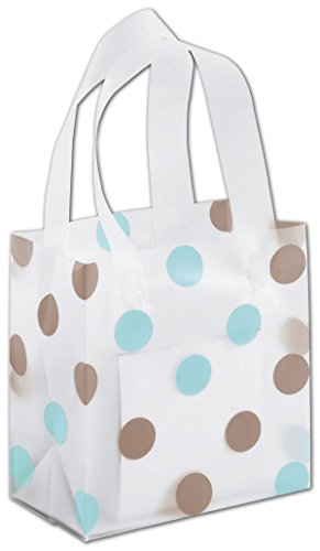 Egp Clear Frosted Flex Loop Shoppers 6 1 2 X 3 1 2 X 6 1 2  Brown   Blue Dots