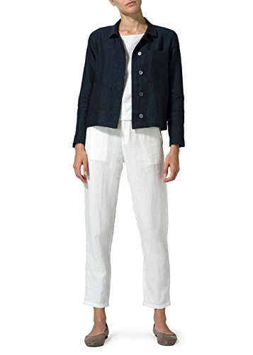 Vivid Linen Cropped Shirt Jacket with (Linen Womens Shirt Jacket)